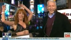 Kathy Griffin strips live on CNN on 2012 new years and flirtsAnderson Cooper & David...