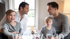 Ricky Martin posed with his partner Carlos González and his sons Matteo and Valentino for...