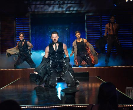 "MATT BOMER as Ken, CHANNING TATUM as Mike, ADAM RODRIGUEZ as Tito, and JOE MANGANIELLO as Big Dick Richie in Warner Bros. Pictures' dramatic comedy ""MAGIC MIKE,"" a Warner Bros. Pictures release. Photo by Claudette Barius"