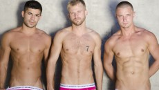 Andrew Christian models Nicco Sky, Cameron Marshal & Vladimir Shmygol get in the pool for...