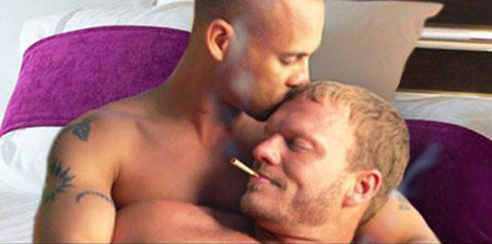 Gay couple smoking
