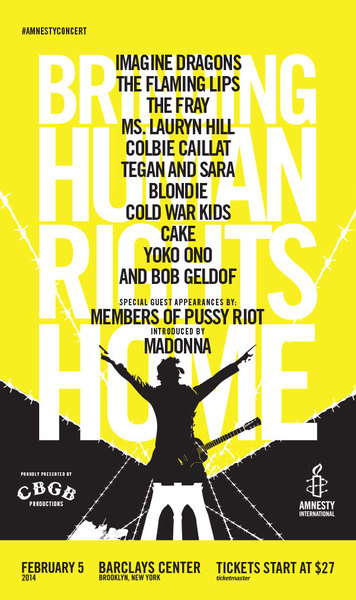 Madonna to Introduce Members of Pussy Riot at Amnesty International Bringing Human Rights Home Concert in Brooklyn February 5
