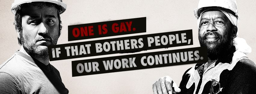 One is gay. If that bothers people, our work continues1