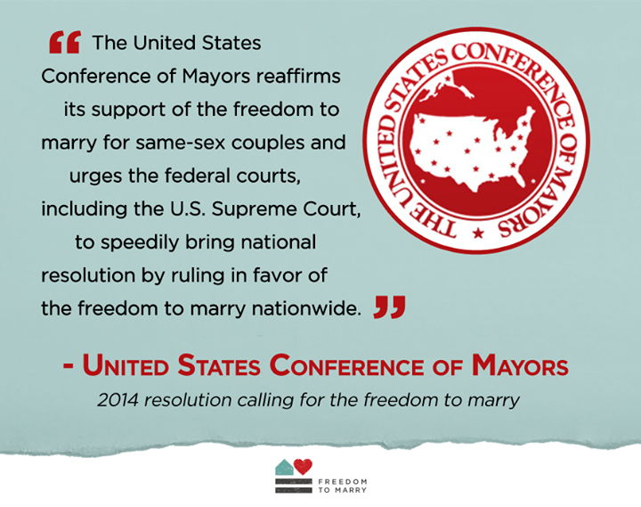 U.S. Conference of Mayors Calls on U.S. Supreme Court to Promptly Rule in Favor of Marriage