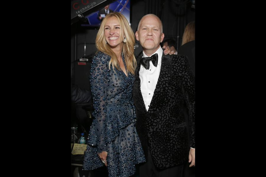 Julia Roberts (l) and Ryan Murphy (r) of The Normal Heart backstage at the 66th Emmys