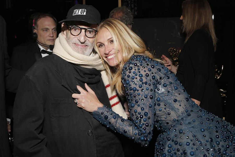 Larry Kramer (l) and Julia Roberts (r) of The Normal Heart backstage at the 66th Emmys