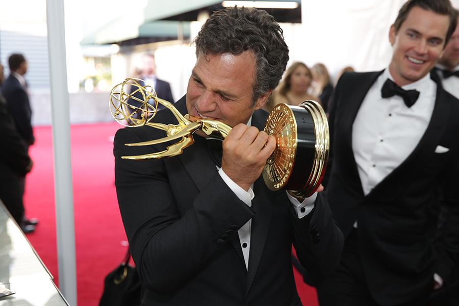 Mark Ruffalo (l) and Matt Bomer (r) of The Normal Heart celebrate at the 66th Emmy Awards