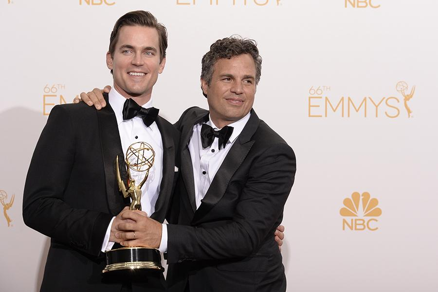 Matt Bomer (l) and Mark Ruffalo (r) of The Normal Heart celebrate at the 66th Emmy Awards