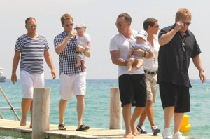 Elton John & Neil Patrick Harris Enjoy Vacation With The Family