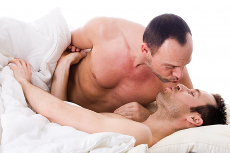 gay couple in bed