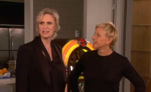 Ellen DeGeneres Gives Jane Lynch Some Emmy Hosting Advice