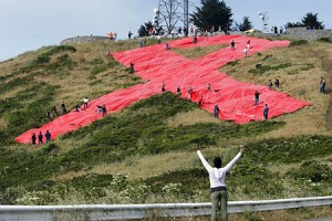 Giant Red Ribbon Marks 30th AIDS Anniversary In San Francisco