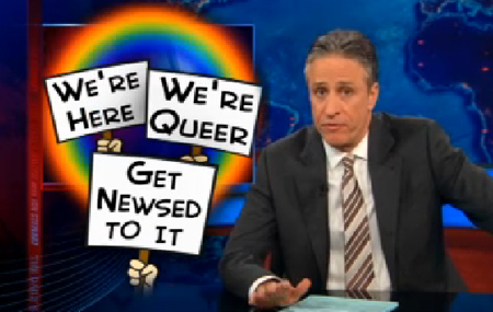 The Daily Show has become the new source of gay news on TV.
