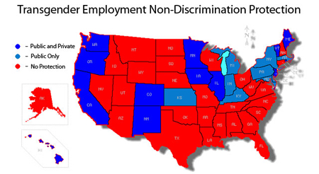 Transgender Employment Rights Map QUEER ME UP - Transgender map of us